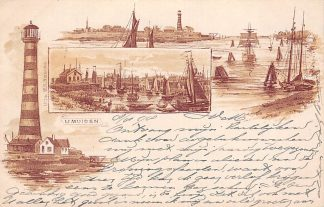 Ansichtkaart IJmuiden 1898 Litho Vuurtoren Haven met schepen HC6541