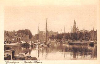 Ansichtkaart Groningen Zuider Haven met binnenvaart schepen Scheepvaart HC6644