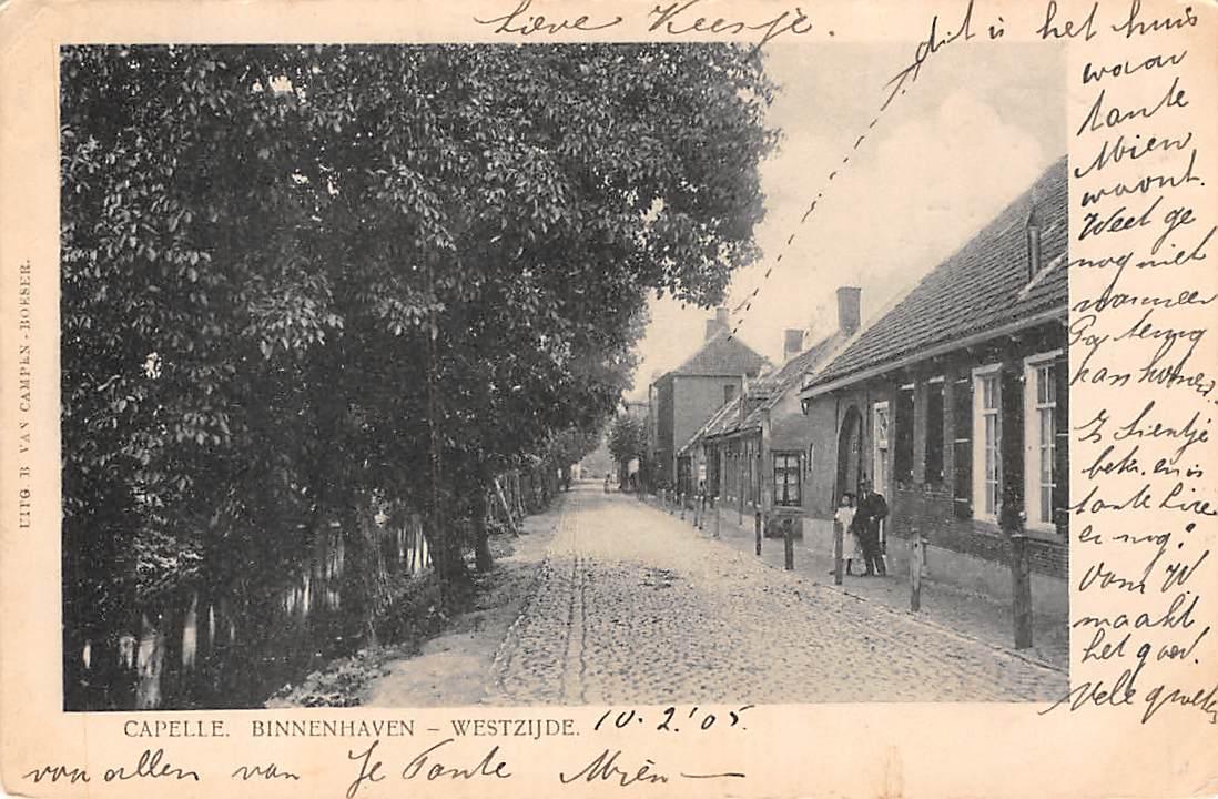Een witbander, een kaart van voor 1906. De voorkant bevat een persoonlijk  bericht, de achterzijde is alleen voor het adres.