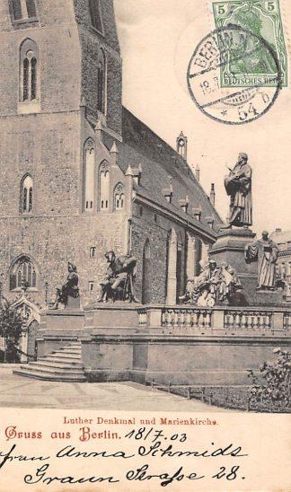 Ansichtkaart Berlin Luther Denkmal und Marienkirche 1903 Duitsland Deutschland HC6755