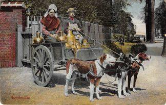 Ansichtkaart Onbekend Hondenkar Melkbussen Klederdracht Zuid-Holland Noordzeekust HC6789