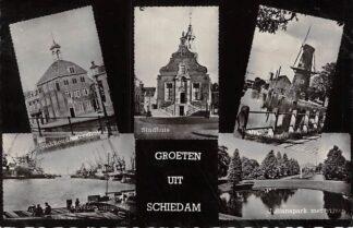 Ansichtkaart Schiedam Groeten uit 1957 Vijfluik Molen HC6792