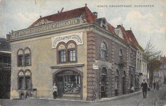 Ansichtkaart Oudewater Korte Havenstraat Kapper Reclame J. & W. Putman Tabak en Sigaren fabrikanten 1921 HC6903
