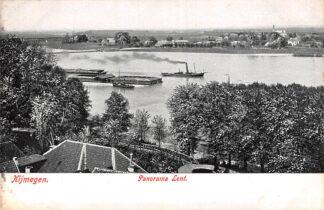 Ansichtkaart Nijmegen Panorama Lent Waal en binnenvaart schepen HC7046