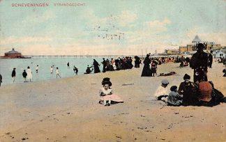 Ansichtkaart Scheveningen Strand gezicht Volk aan zee 1908 HC7049