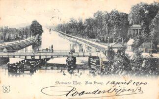 Ansichtkaart Den Haag Delftsche Weg met brug over het kanaal 1900 HC7128