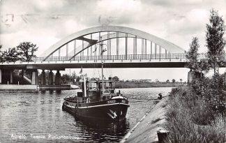 Ansichtkaart Almelo Twente Rijnkanaal brug met sleepboot Risico 1968 Binnenvaart schepen Scheepvaart HC7137
