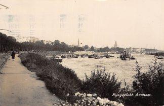 Ansichtkaart Arnhem Rijngezicht Baggermolen binnenvaart schepen Scheepvaart Newo Fotokaart 1933 HC7148
