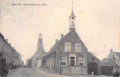 Ansichtkaart Biervliet Gemeentehuis en Kerk 1911 Terneuzen Zeeuws-Vlaanderen HC7149