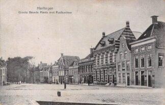 Ansichtkaart Harlingen Groote Breede Plaats met Postkantoor HC7160