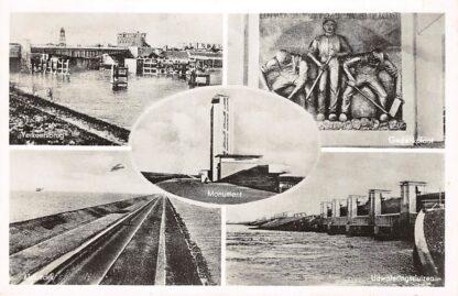 Ansichtkaart Wieringen Afsluitdijk Verkeersbrug Sluizen Monument 1951 IJsselmeer HC7204