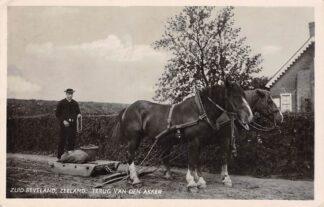 Ansichtkaart Goes Zuid-Beveland Zeeland Boer met eg en paarden terug van den Akker Klederdracht 1943 HC7231