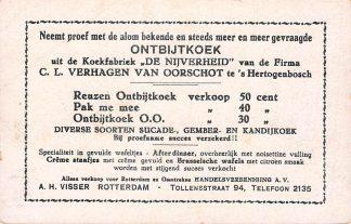 Ansichtkaart 's-Hertogenbosch Reclame Koekfabriek De Nijverheid Verhagen van Oorschot A.H. Visser Rotterdam HC7250