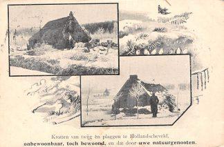 Ansichtkaart Hollandscheveld Drenthe Krotten van twijg en plaggen 1907 HC7258