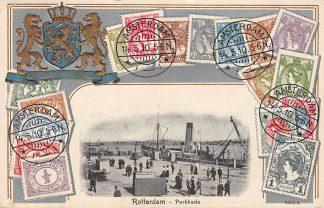 Ansichtkaart Rotterdam Parkkade 1910 Reliëf kaart Postzegels Filatelie HC7260