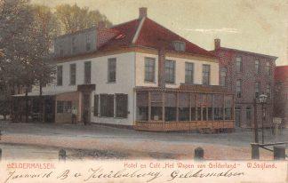Ansichtkaart Geldermalsen Hotel en Café Het Wapen van Gelderland W. Strijland Kleinrondstempel Filatelie Betuwe HC7263