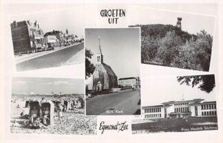 Ansichtkaart Egmond aan Zee 1952 Groeten uit Boulevard Strand N.H. Kerk Uitzichttoren en Prins Hendrik Stichting HC7283