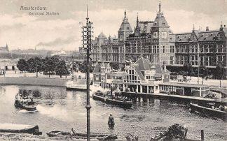 Ansichtkaart Amsterdam Centraal Station 1918 Spoorwegen Tram Scheepvaart HC7311