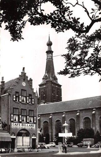 Ansichtkaart Tilburg Heikesekerk met Café Billard kerk en auto 1962 HC7324