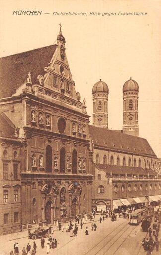 Ansichtkaart Duitsland München Michaelskirche, Blick gegen Frauenturme Tram Deutschland Europa HC7382