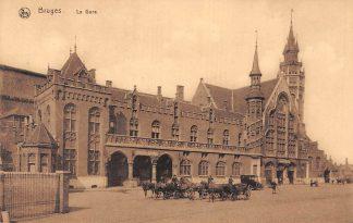 Ansichtkaart België Brugge Bruges La Gare Het Station Paard en wagen Spoorwegen HC7396