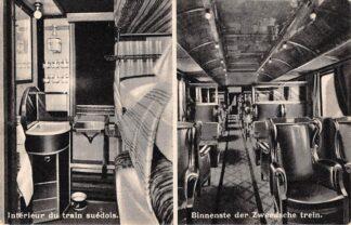Ansichtkaart België Brussel l'exposition de Bruxelles 1935 Interieur du train suedois Binnenste der Zweedse trein in het Modelstatie Spoorwegen Zweden Sverige HC7397