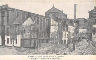 Ansichtkaart België Hallen en Hoogeschool na verwoesting Louvain Vieux marche, Halles et Universite HC7398