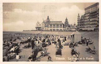 Ansichtkaart België Oostende Strand La Plage et le Kursal 1929 HC7400