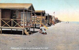 Ansichtkaart Egypte Cabines de bains de mer sur la plage de Port-Said Stand huisjes Zee Egypte Afrika HC7404