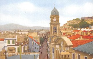 Ansichtkaart Gibraltar R.C. Cathedral & Main St. Engeland Spain Spanje HC7405