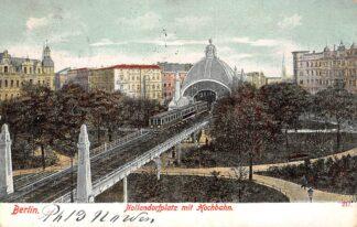 Ansichtkaart Duitsland Berlin Nollendorfplatz mit Hochbahnd und Zug 1904 Treinen Spoorwegen Deutschland HC7420