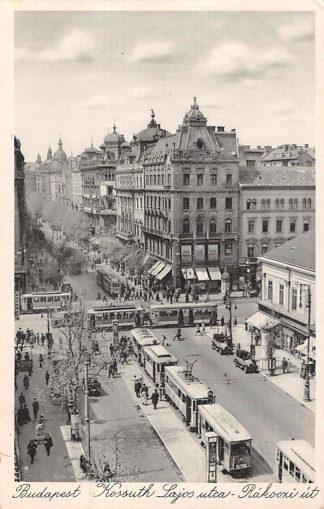 Ansichtkaart Hongarije Budapest Tram Kossuth Lajos utca Rakoozi ut Magyar Hungary Europa HC7424