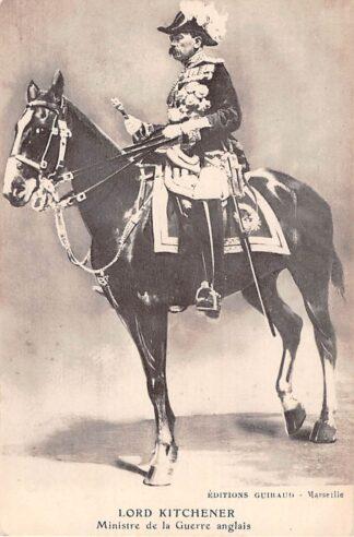 Ansichtkaart Engeland WO1 Eerste Wereldoorlog 1914 - 1918 Lord Kitchener te paard Ministre de la Guerre Anglais Militair England Great-Britain HC7427