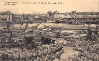 Ansichtkaart België Antwerpen Esperanto tekst La haveno. Kajo Godefredo, kun parto de la Europa Binnenvaart schepen Scheepvaart HC7452