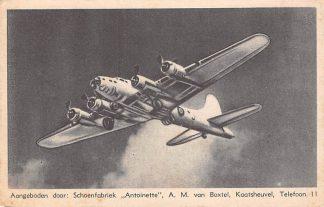 Ansichtkaart Kaatsheuvel Reclame Schoenfabriek Antoinette Roelofsen Schoenen Haarlem Vliegtuigen Boeing B 17 HC7475