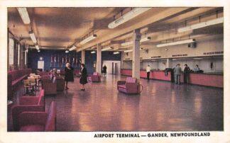 Ansichtkaart Canada Airport Terminal Gander Newfoundland Noord-Amerika Vliegtuigen Vliegveld Luchtvaart HC7500
