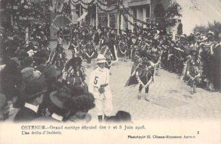 Ansichtkaart België Oostende Grand eortege deguize des 7 et 8 Juin 1908 Une tribu d'Indiens Europa HC7515