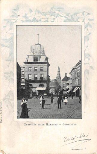 Ansichtkaart Groningen Tusschen beide Markten 1900 Kleinrondstempel Dedemsvaart 1900 HC7524