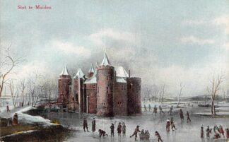 Ansichtkaart Muiden Slot te Muiden Kasteel Schaatsen Winter HC7531