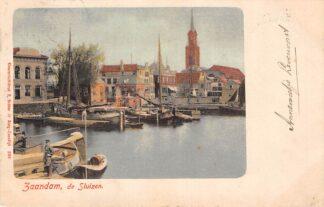 Ansichtkaart Zaandam de Sluizen 1900 Binnenvaart schepen Scheepvaart HC7569