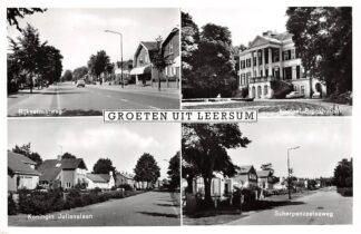 Ansichtkaart Leersum Groeten uit 1963 Rijksstraatweg Kasteel Broekhuizen Koningin Julianalaan Scherpenzeelseweg 1963  HC7624