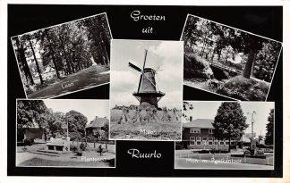 Ansichtkaart Ruurlo Groeten uit Molen Laan Plantsoen De Witte Brug Monunment met Postkantoor 1964 HC7708