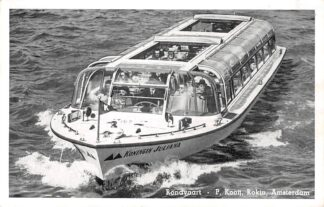 Ansichtkaart Amsterdam Reclame kaart Rondvaart P. Kooij Rokin Schip Koningin Juliana HC7710