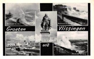 Ansichtkaart Vlissingen Groeten uit met monument Boulevard bij storm Vissershaven HC7714