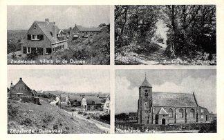 Ansichtkaart Zoutelande Villa's in de duinen 't Boschje Duinstraat Kerk 1956 HC7732