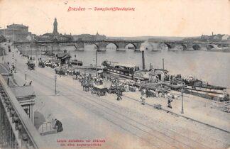 Ansichtkaart Duitsland Dresden Dampschifflandeplatz 1913 Paard en wagens Binnenvaart schepen Scheepvaart Deutschland Europa HC7744