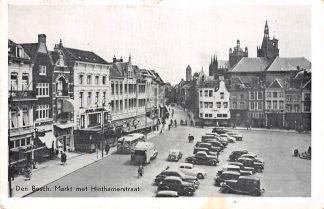 Ansichtkaart Den Bosch Markt met Hinthamerstraat Vuilinis auto en bus 1962 HC7763