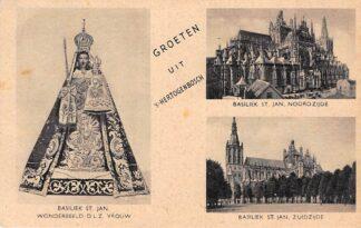 Ansichtkaart 's-Hertogenbosch Groeten uit Basiliek St. Jan Wonderbeeld en Noord- en Zuidzijde HC7764