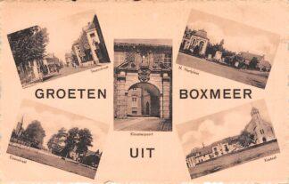 Ansichtkaart Boxmeer Groeten uit Steenstraat H. Hartplein Kloosterpoort Elzenstraat Kasteel 1953 HC7765