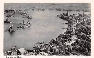 Ansichtkaart Zaandam Langs de Zaan 1927 Molen Molens KLM Luchtfoto 27-159 HC7831